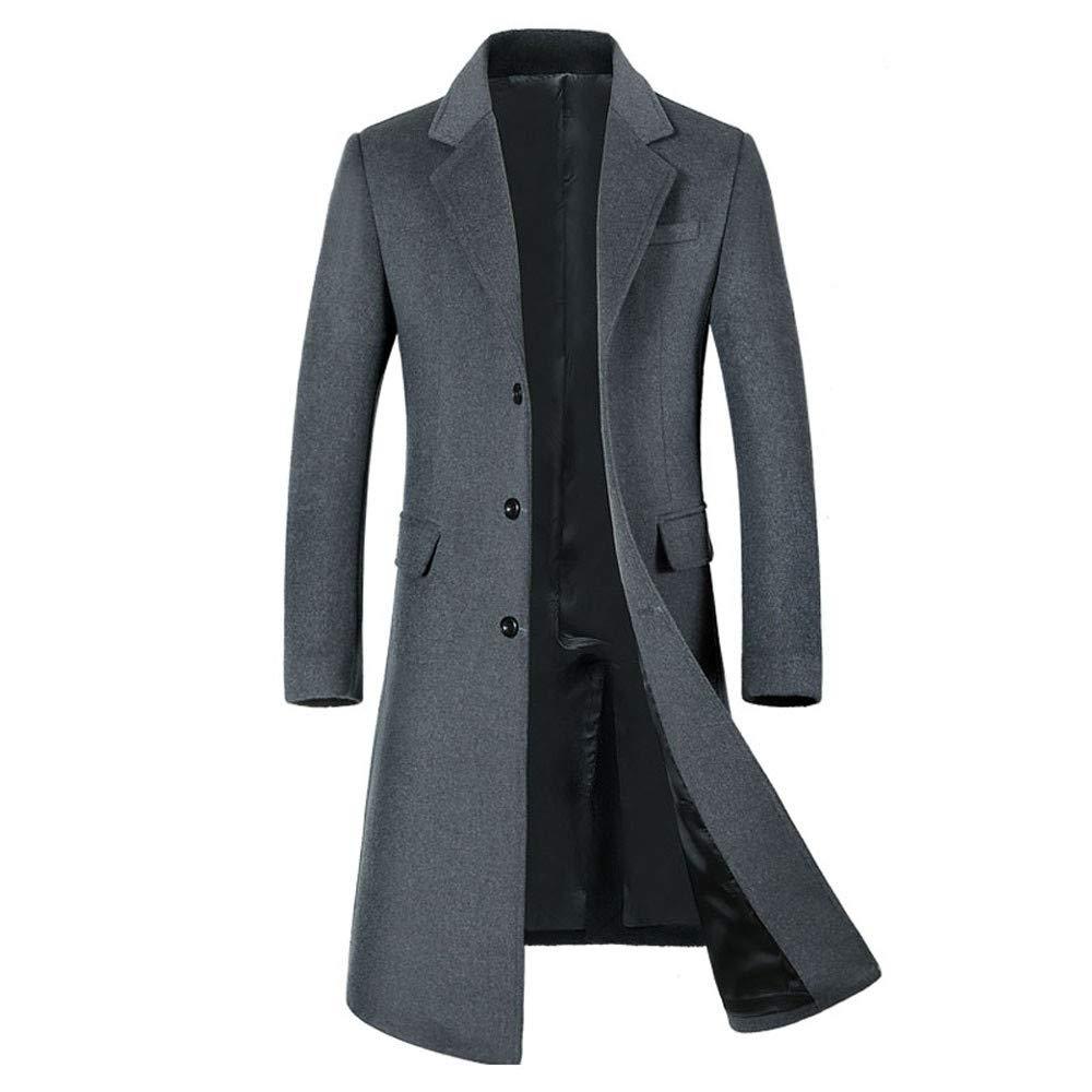 RedBrowm Men's Wool Jacket Warm Winter Trench Long Outwear Button Smart Overcoat Coats Jacket-1512