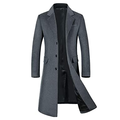 6dea8b3e3 diandianshop Men's Wool Jacket Warm Winter Trench Long Outerwear ...