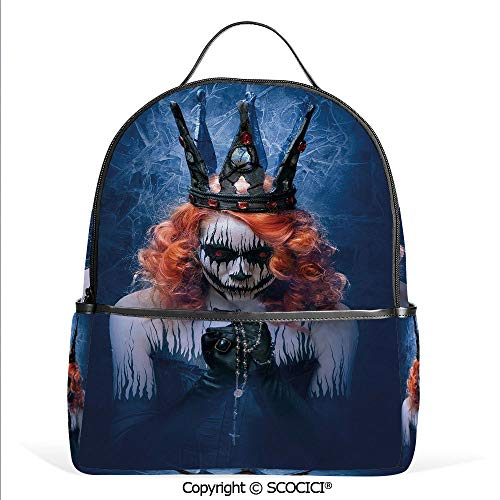 Lightweight Chic Bookbag Queen of Death Scary Body Art Halloween Evil Face Bizarre Make Up Zombie,Navy Blue Orange Black,Satchel Travel Bag Daypack]()