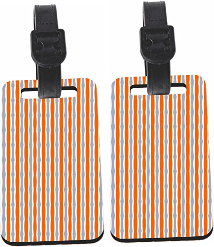 Rikki Knight Orange and Grey Swirly Stripes Luggage Identifiers with (Swirly Stripe)