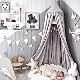 Dix-Rainbow Princess Bed Canopy for Kids Baby Bed, Round Dome Kids Indoor Outdoor Castle Play Tent Hanging House Decoration Reading Nook Cotton Canvas Prince Grey