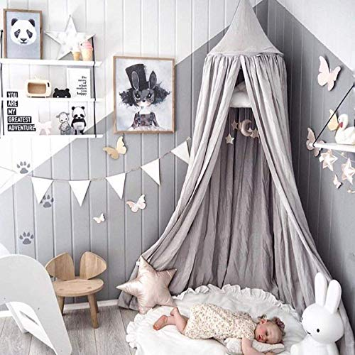 Dix-Rainbow Princess Bed Canopy for Kids Baby Bed, Round Dome Kids Indoor Outdoor Castle Play Tent Hanging House Decoration Reading Nook Cotton Canvas Prince Grey]()