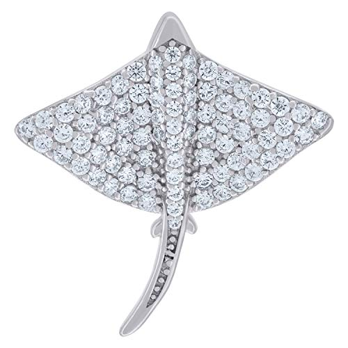 Saris and Things 925 Sterling Silver Mens Women Cubic Zirconia CZ Stingray Fish Sealife Charm Pendant