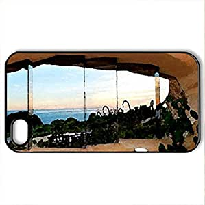 Fred & Wilma Flintstone's home 2012 Series #6 - Case Cover for iPhone 4 and 4s (Modern Series, Watercolor style, Black)