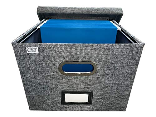Collapsible File Box Storage Organizer with lid - Decorative Linen Hanging File Box with Handles - Letter/Legal Office File Storage Box - Metal brackets for Easier Document Storage - Gray (Holder File Decorative)