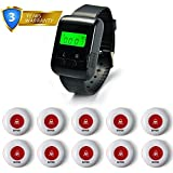 Wireless Pagers Calling System Table Service Call Buzzers Caregiver Paging Alert for Restaurant Hotel Nursing Home 1 PC Wrist Watch Receiver + 10 PCS Waterproof Call Buttons