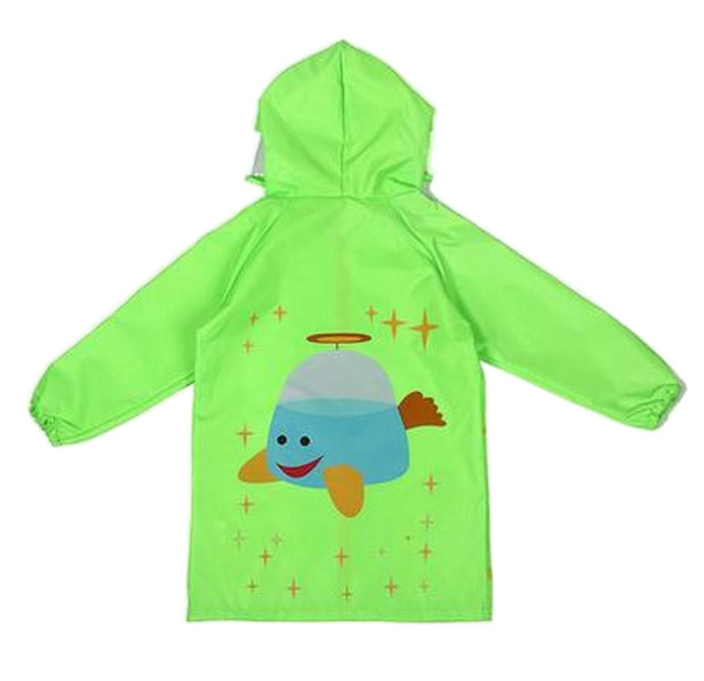 Lovely Children Raincoat Kids Rainwear Rain Jacket Spaceship Green