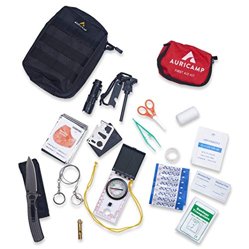 Auricamp Survival Kit - Camping gear / Gadgets for Men - Molle Pouch with First Aid Supplies, Pocket Knife, Flashlight, Emergency Blanket, Whistle, Compass, Fire Starter, Wire Saw and Multi Tool Card