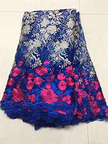 Lace - Peach Teal Blue lace Fabric Sewing Supplies Wholesale African French lace Fabric with Beads 5yard/lot K-R911 - (Color: As Picture)