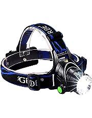 Oplaadbare led-hoofdlampen, zoomable 3 modi, super helder, 3000 lumen, led-koplamp, zaklamp, perfecte koplamp voor camping, hoofdlampen voor volwassenen, hoofdlamp (A)
