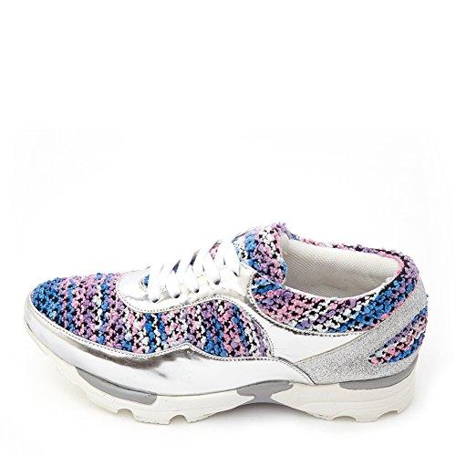 Jeffrey Campbell Mujeres Run Walk Sneaker Run-walk Plata / Pastel