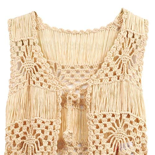 Acemi Sleeveless Lace Suit Swim Crochet Long Fringe Vest Bikini Cover Up Hippie Clothes for Women Free Size (Apricot)