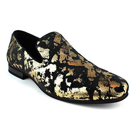 Coat Print Velvet (ÃZARMAN Men's Slip On Velvet Gold Leopard Print Dress Shoes Loafers LS21 (11 U.S (D) M, Black & Gold))