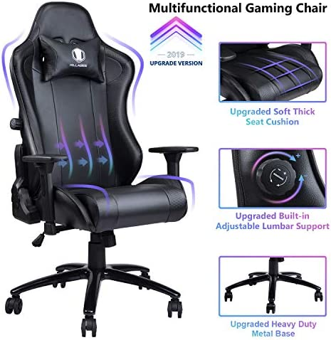 VON RACER Gaming Chair with Adjustable Built-in Lumbar Support – Big and Tall Ergonomic Racing Computer Chair High-Back Leather Office Desk Chair w Metal Base, Black