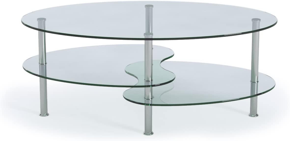 Ryan Rove Ashley – Oval Two Tier Glass Coffee Table – Coffee Tables for Living Room, Kitchen, Bedroom Office – Glass Shelves Under Desk Storage – Silver and Clear Glass