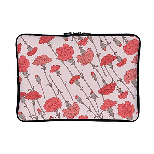 DKISEE Abstract Carnation Pattern Classic Neoprene Laptop Sleeve Case Waterproof Sleeve Case Cover Bag for MacBook/Notebook/Ultrabook/Chromebooks