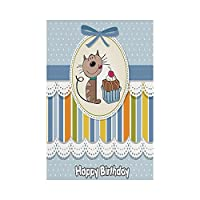 Polyester Garden Flag Outdoor Flag House Flag Banner,Birthday Decorations for Kids,Present Wrap Like Image Chocolate Cake Cat Party,Baby Blue and White,for Wedding Anniversary Home Outdoor Garden Deco