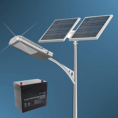 15a Lamp - ECO-WORTHY 40 Watt LED Solar Street Light System: 2pcs 100 Watts Solar Panel & 40W 12V LED Street Lamp & 15A PWM Charge Controller & 50Ah 12V Battery for Professional Grade Street Solar Lighting
