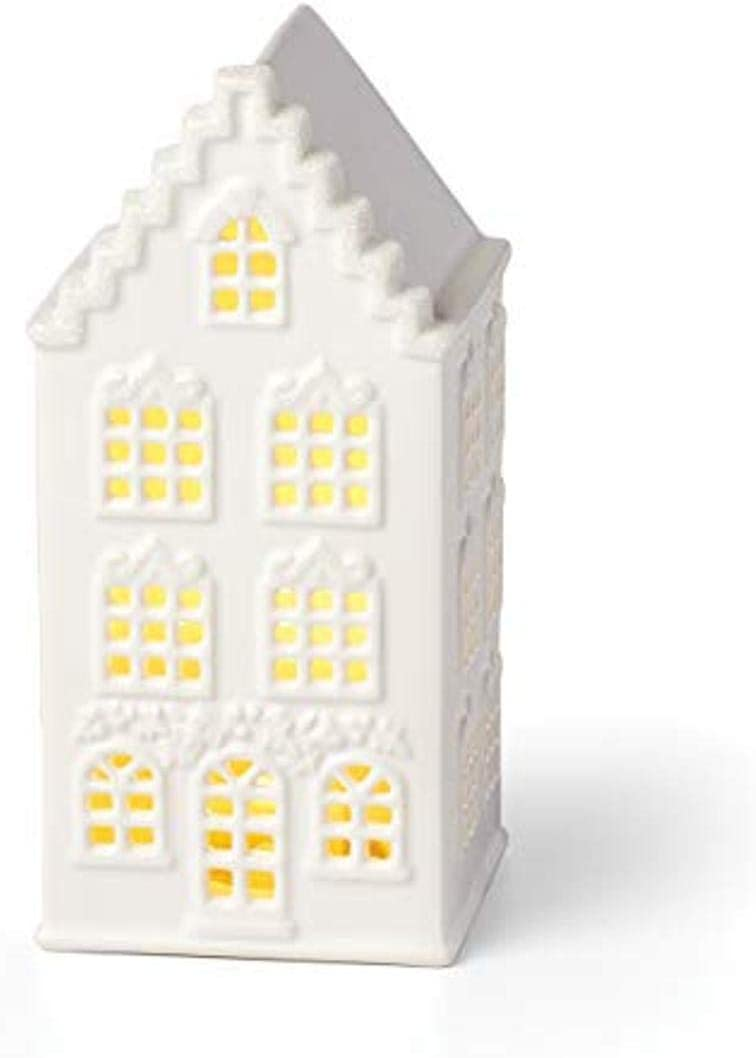 Lenox Light-Up Swag-Decorated House Figurine, 0.70 LB, Ivory
