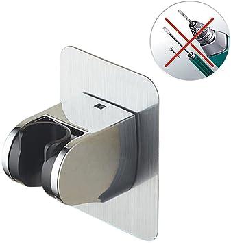 KOBWA Duschkopf-Halterung verstellbar selbstklebend Aluminium kein Rost stark robust Wandhalterung mit 2 Haken f/ür Handbrause