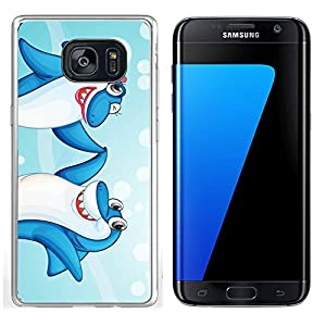 Liili Samsung Galaxy S7 Edge Clear case Soft TPU Rubber Silicone Bumper Snap Cases IMAGE ID: 14058584 illustration of two dancing whale fishes in water