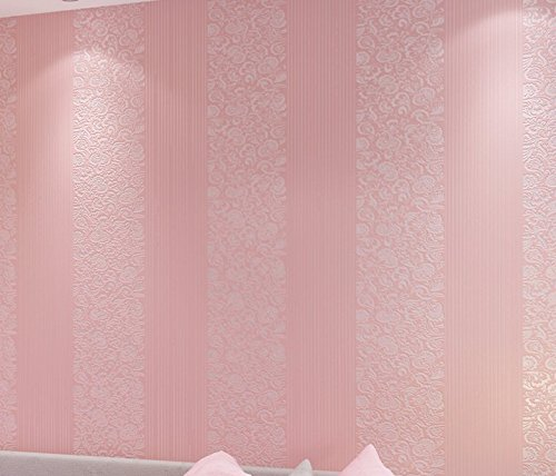Fyios Simple Vertical Striped Wallpaper Bedroom Living Room Office Tv Background Wall,Pink ()