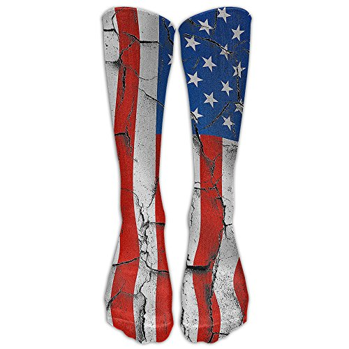 FUNINDIY Crack The American Flag Compression Socks Soccer Socks Crew Socks For Running, Medical, Athletic, Edema, Diabetic, Varicose Veins, Travel, Pregnancy, Shin Splints, Nursing.