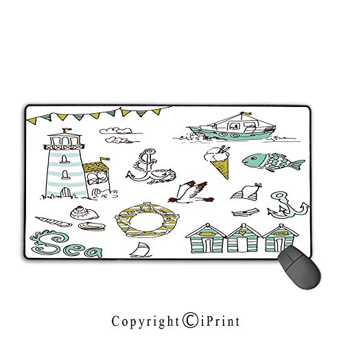 Extended Mousepad with Durable Stitched Edges,Nautical,Marine Elements Fish Lighthouse Anchor Vessel Swimsuit Gulls Lifebuoy Print,Pale Green Yellow, Non-Slip Rubber - Base A/c Moose