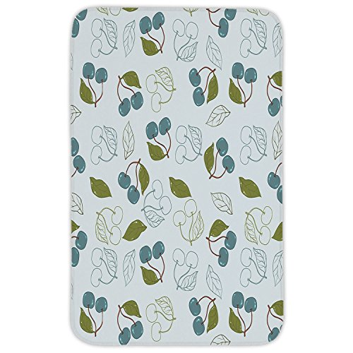 Rectangular Area Rug Mat Rug,Fruits,Cherry Blooms Leaves Summer Yummy Kitchen Garden Delicious Artsy Graphic,Blue Grey Olive Green,Home Decor Mat with Non Slip Backing by iPrint