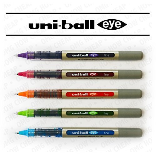 Uni-Ball EYE UB-157 Fine Liquid Ink Rollerball Pen - Tropical Set - Pack of 5 - Ink Flow Continuous System