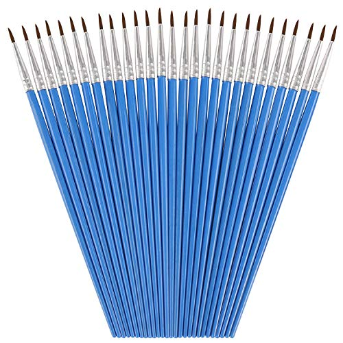 30 Packs Pointed Round Painting Brush Fine Tip Watercolor Brushes Detail Paint Brush for Kids, Children, Students, Starter
