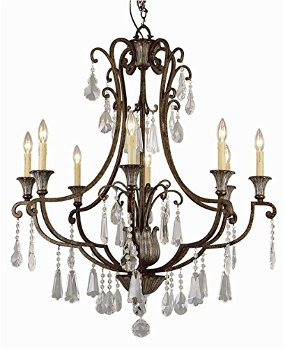 Trans Globe 3968 Crystal Flair - Eight Light Chandelier with Crystal Accent, Oil Rubbed Bronze Finish with Crystal