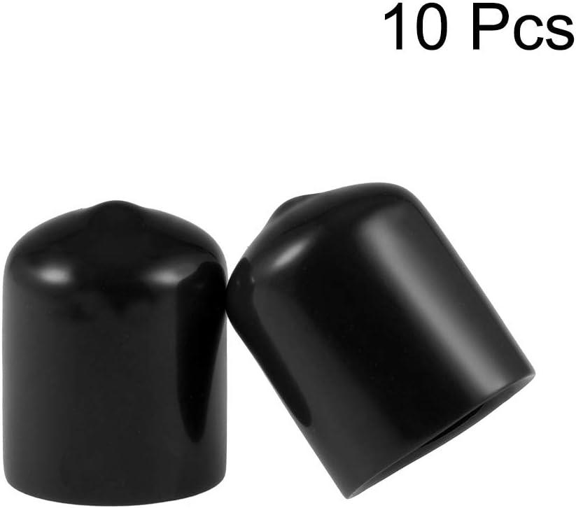 uxcell Rubber End Caps 34mm ID Round End Cap Cover Flexible Screw Thread Protectors Black 10pcs
