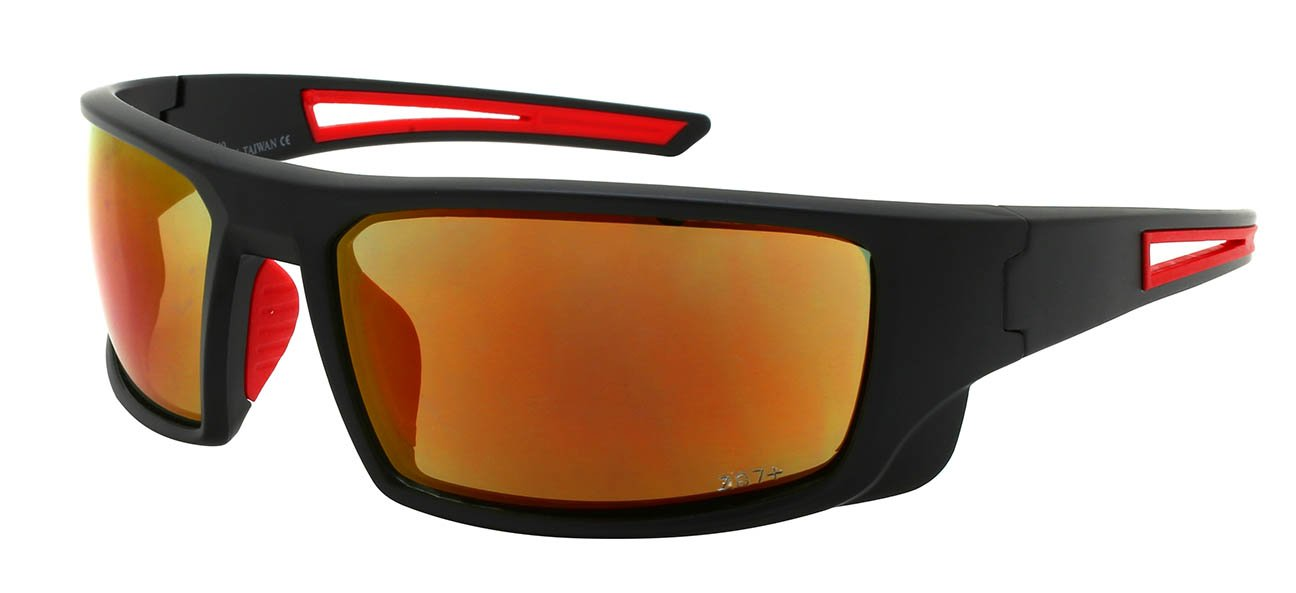 Edge I-Wear Sports Safety Sunglasses ANSI Z87+ Color Mirror Lens 570100/REV-3(M.BLK.r)