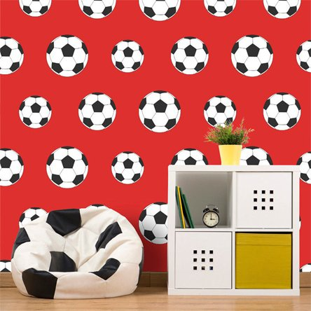 Football Wallpaper Soccer Sport Kids Bedroom Red White Black Child Goal Ball