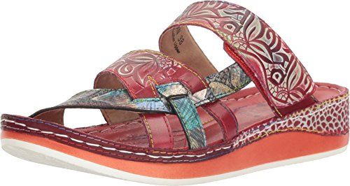(L'Artiste by Spring Step Women's Caiman Slide,Red Multi Leather,EU 40)