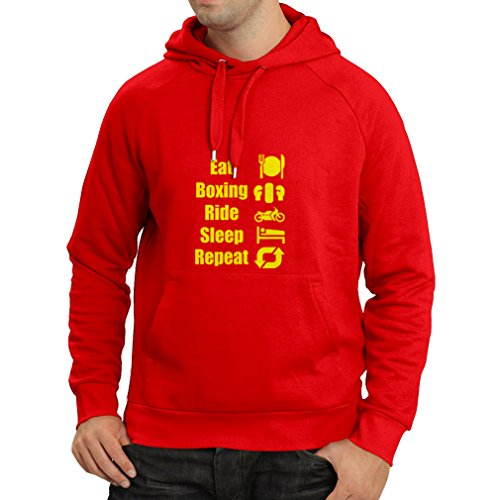 Hoodie Eat Boxing Ride Sleep Repeat - for fighters and riders motivational sports quotes (Medium Red (Fat Fighters Halloween)