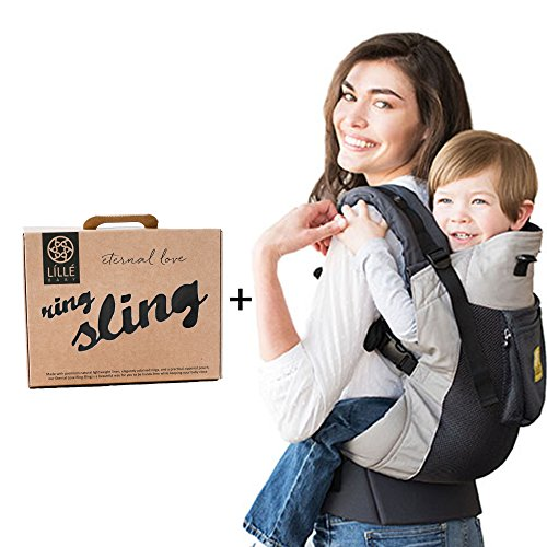 LILLEbaby Carry Me Bundle - 2 items: Charcoal Silver 3-1 CarryOn Airflow Toddler Carrier and Ring Sling Magic (Black) by Lillebaby