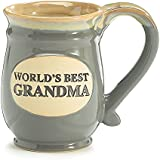Coffee Cup Worlds Best Grandma Hot Tea Mug Gray Porcelain 14 oz with Tan, Vintage Pottery Look Gift Idea for Beverage Service or China Collections
