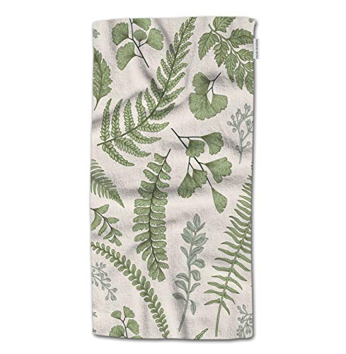 HGOD DESIGNS Bath Towel Leaves,Green Leaves and Fern Pattern Bath Towel Throw Blanket Beach Towel 64