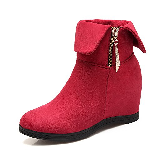 AgooLar High Red Round Solid Zipper Toe Women's top Boots Low Heels Closed 8xqP78rw