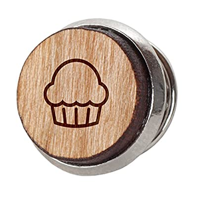Muffin Stylish Cherry Wood Tie Tack- 12Mm Simple Tie Clip With Laser Engraved Design - Engraved Tie Tack Gift