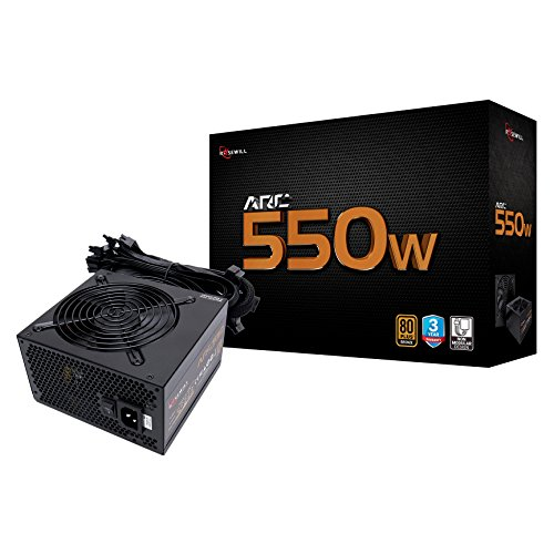 Rosewill Gaming Power Supply, Arc Series 550 Watt (550W) 80 Plus Bronze Certified PSU with Silent 120mm Fan and Auto Fan Speed Control, 3 Year Warranty – ARC550