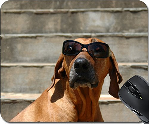MSD Natural Rubber Mouse Pad Mouse Pads/Mat design 1905543 A beautiful and funny Rhodesian Ridgeback hound dog head portrait - Design Sunglasses Blinde