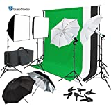 LimoStudio Continuous Lighting Photo Video Studio Kit with Photo Background Muslin and Umbrella Reflector, Softbox, Photo Studio Bundle, AGG2061_V2