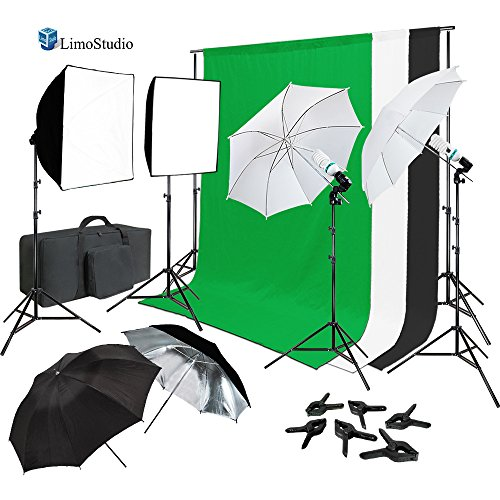 Continuous Lighting Photo & Video Studio Kit with Photo Background Muslin and Umbrella Reflector, Softbox, Backdrop Support Structure System with Cross Bar, Photo Studio Bundle, AGG2061_V2 by LimoStudio