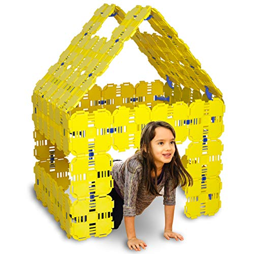 Fort Boards: Fort Building Kit | Jumbo Blocks - Kids Building Toys | 90 Piece Set: Yellow