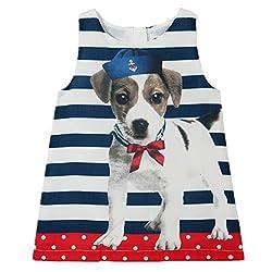 LittleSpring Little Girls' Dresses Cute Dog,1-2T/Height 29.5-33.5 inch,Blue(90)