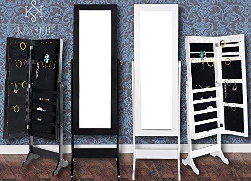 Kesser® Standspiegel Spiegel Schmuckschrank Spiegelschrank Schmuckkasten, Farbe:Schwarz