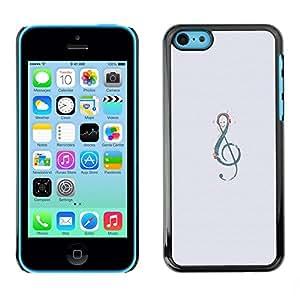 TopCaseStore / la caja del caucho duro de la cubierta de protección de la piel - Grey Music Melody Instrument Musical - Apple iPhone 5C